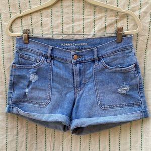 Ripped Boyfriend Jean Shorts